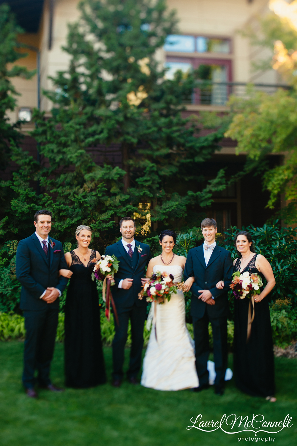 Striking bridal party portrait at Willow's Lodge autumn wedding by Laurel McConnell Photography.