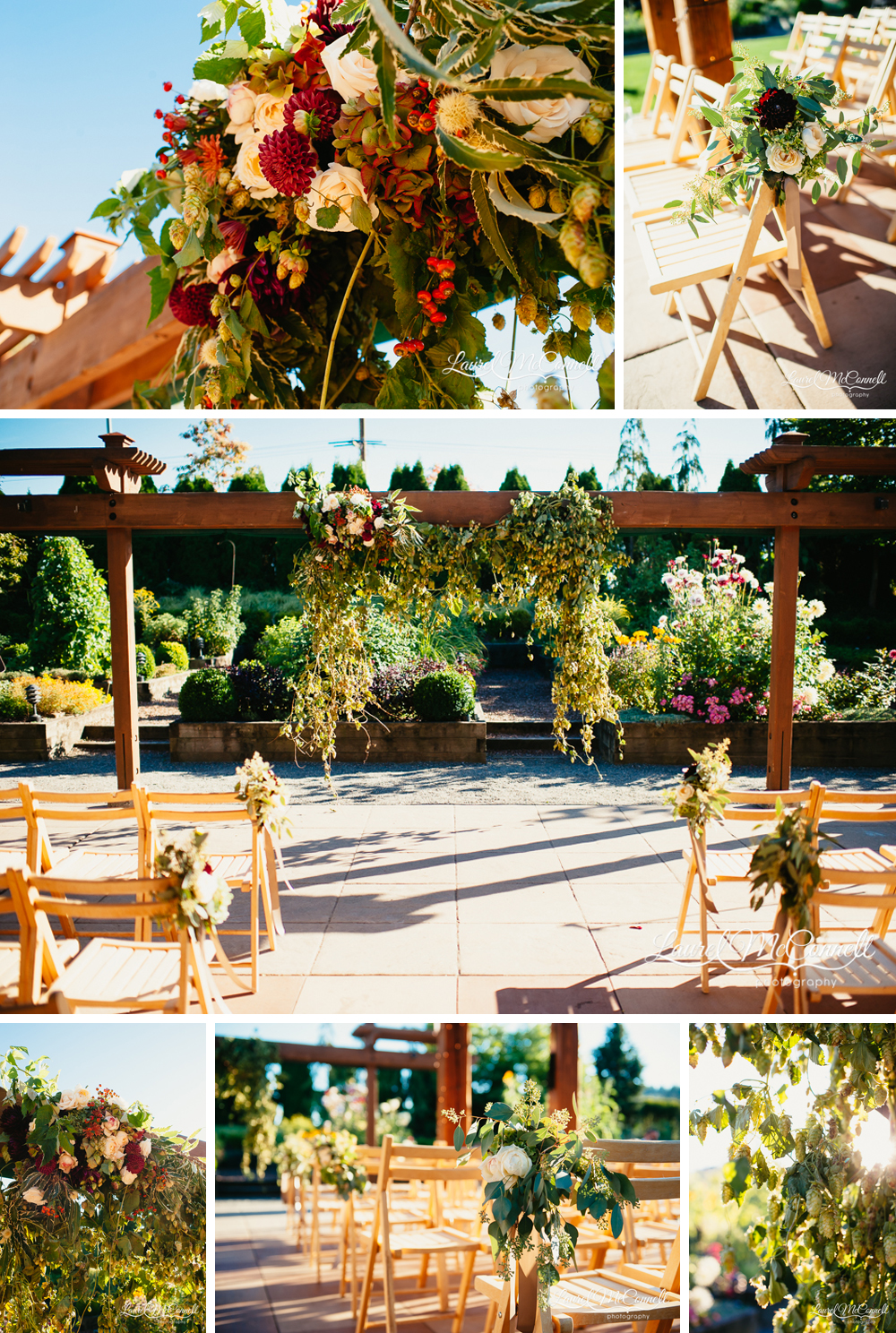 Outdoor Willow's Lodge ceremony featuring rustic wood chairs and decor, an arch made of hops, and rich autumnal florals photographed by Laurel McConnell Photography.