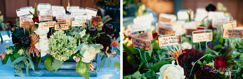 Hand-painted copper garden marker escort cards photographed by Laurel McConnell Photography.