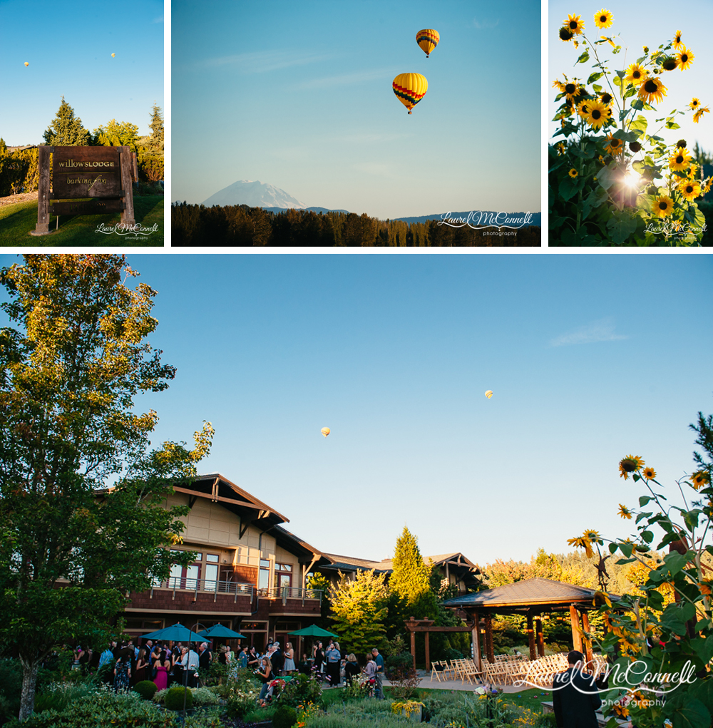 Willow's Lodge wedding venue Woodinville, Washington with hot air balloons photographed by Laurel McConnell Photography.