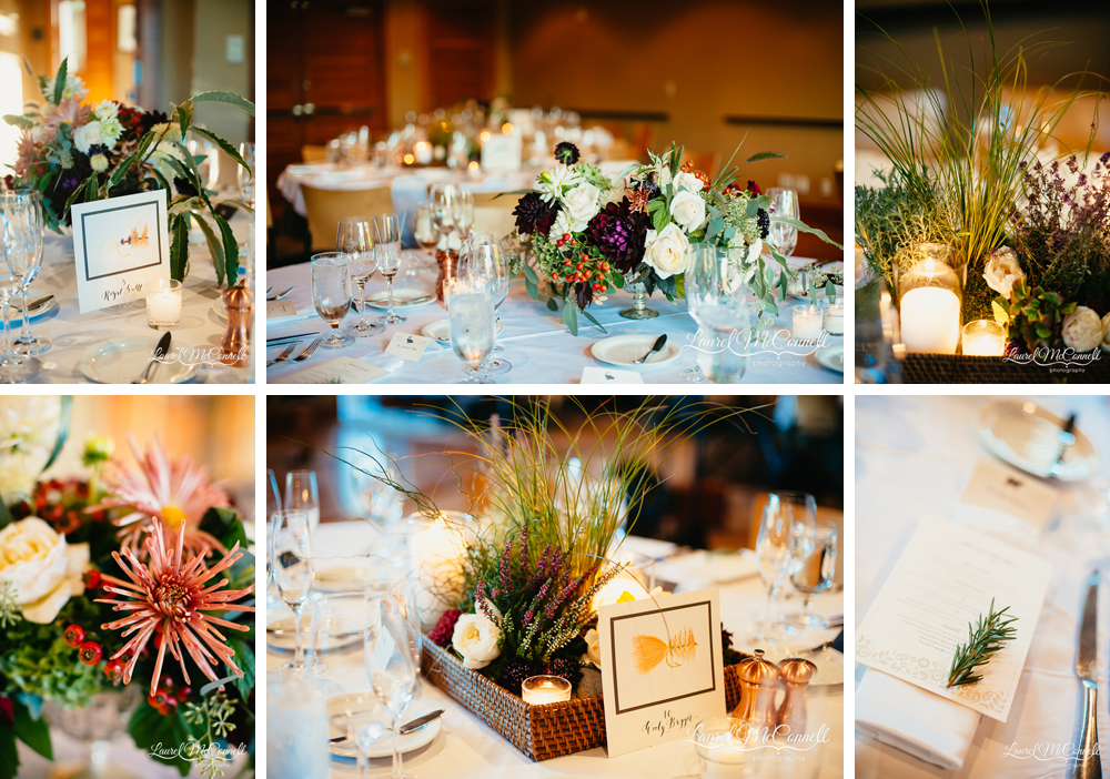 Jewel tone, autumal floral centerpieces, grass and greenery tablescapes, and hand painted flyfishing lure table placards photographed by Laurel McConnell Photography.