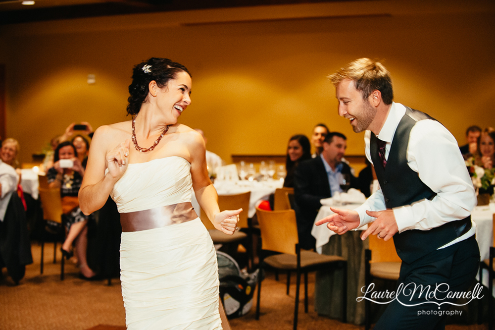 Bride and grooms first dance to Seattle's wedding band The Nines photographed by Laurel McConnell Photography.