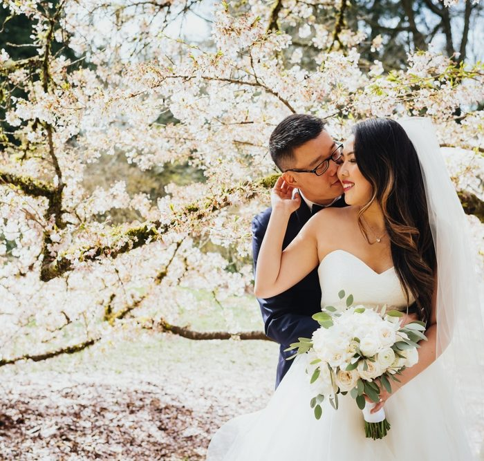 Anna & Allen's Cherry Blossom-Filled Springtime Wedding at The Foundry in Seattle