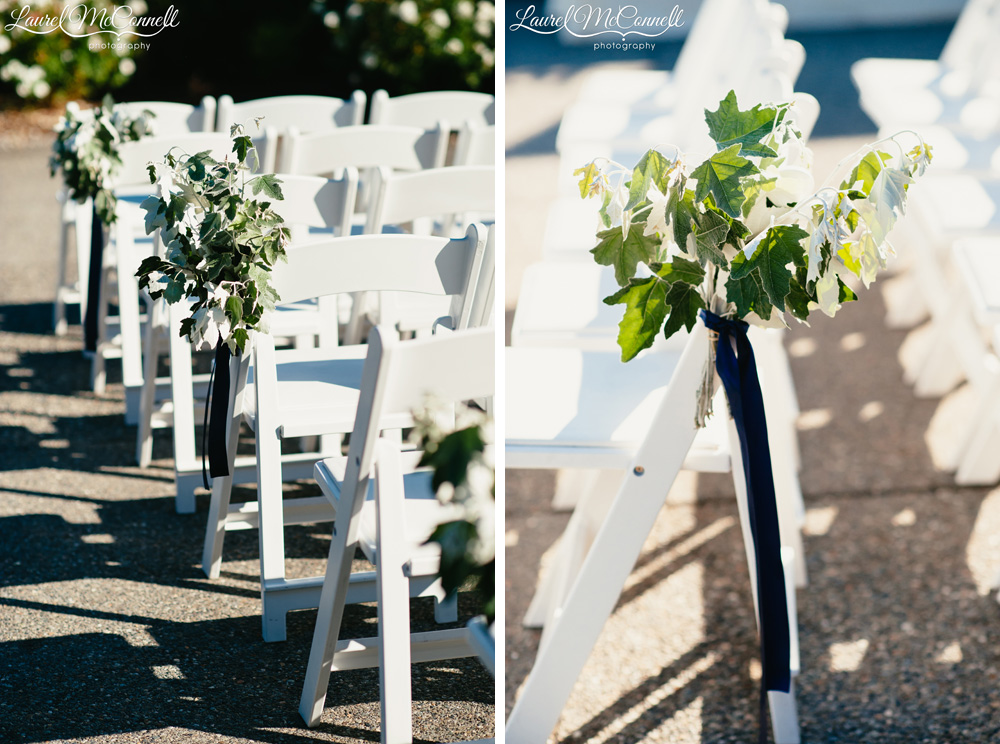 White Cream And Green Wedding Ceremony Fl Decor With Navy Blue Accents Created By